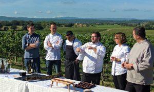 Damià Rafecas, Ivan Beumala, Jordi Vallespí, Joan Carles Sànchez, Iolanda Bustos i Jordi Ribas, durant la presentació de Quermany Gastronòmic.